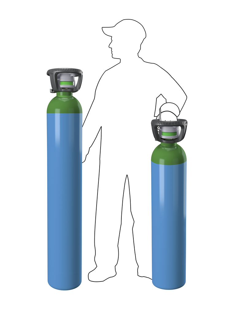 2 sizes of cylinders